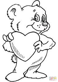 download teddy bear with heart coloring pages