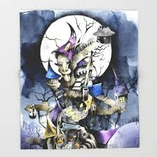 the nightmare before throw blanket by ink society6