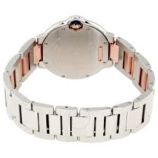 stainless steel cartier bracelet images Cartier ballon bleu silver diamond dial steel and 18k pink gold jpg