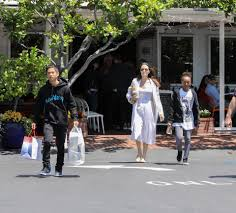 angelina jolie u0027s moving trucks spotted outside her new 20m