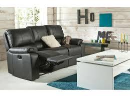 conforama canape fixe 3 places canapé fixe relaxation manuel 3 places en cuir coloris noir