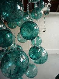 hang turquoise and sea foam green glass ornaments of