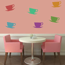 kitchen wall stickers iconwallstickers co uk tea cup and saucer food and drink creative multipack wall stickers art decals