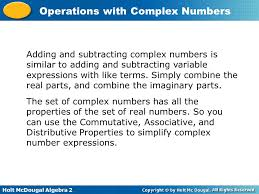 operations with complex numbers ppt video online download