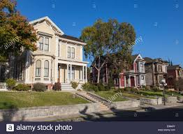 victorian homes along carroll avenue in angelino heights los