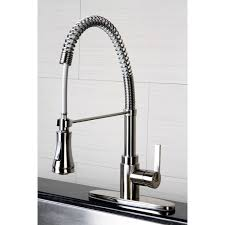 overstock faucets kitchen continental modern spiral satin nickel kitchen faucet overstock