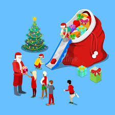 merry christmas isometric greeting card with christmas tree santa