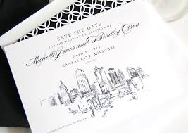 wedding invitations kansas city city skyline save the date cards