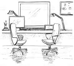 sketch the room two office chairs desk various objects on the