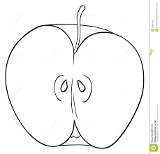 half apple clipart black and white clipartxtras
