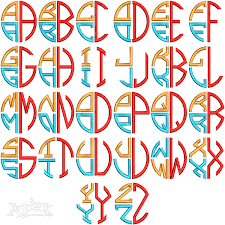 stacked monogram colorful monogram embroidery fonts