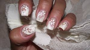 nail art design french manicure natural lace white on white long