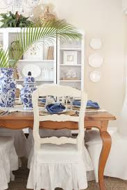 blue and white table setting starfish cottage