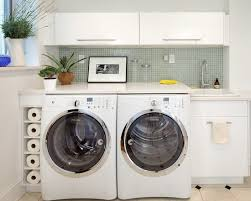 Marvelous Rolling Laundry Cart In Laundry Room Traditional - Utility sink backsplash