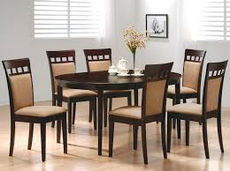 furniture dark wood oval dining table with white windows blind