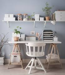Organized Desk An Organized Desk Without Drawers In White And Light Wood With A