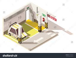 vector isometric low poly underground parking stock vector vector isometric low poly underground parking includes parking places car exit door and