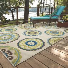 Outdoor Floor Rugs Bungalow Beige Green Indoor Outdoor Area Rug Reviews