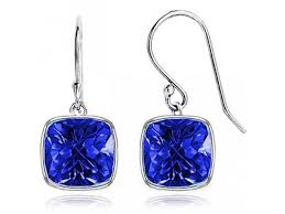 earrings s sightholderdiamonds 4 00 ctw cushion shaped sapphire drop earrings