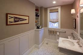 traditional powder room with wall sconce by thea segal zillow