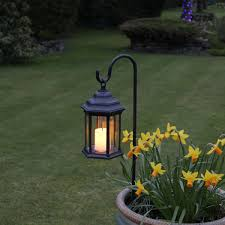 Outdoor Candle Lighting by Battery Flickering Candle Lantern With Timer Amber Led 28cm
