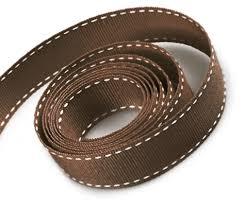 brown ribbon stitched grosgrain ribbon finerribbon