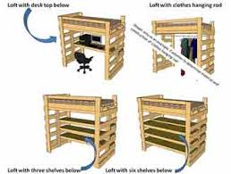 make a bunk loft bed with desk underneath bed underneath