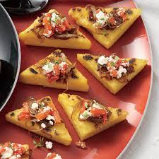 polenta toasts u0026 balsamic onions roasted peppers feta u0026 thyme