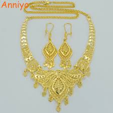 gold color necklace images Anniyo dubai wedding jewelry sets gold color necklace earrings jpg