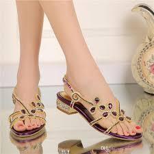 Wedding Shoes Size 9 Low Heel Rhinestone Sandals 2016 Ladies Summer Shoes Crystal
