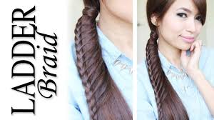 ladder braid ponytail hairstyle for medium long hair tutorial