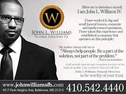 funeral homes in baltimore md williams funeral home
