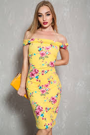yellow floral print off the shoulder knee length casual dress