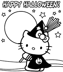 kitty halloween coloring witch halloween coloring pages