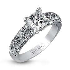 Square Wedding Rings by 18k White Gold Intricate Floral Engagement Ring Duchess Collection
