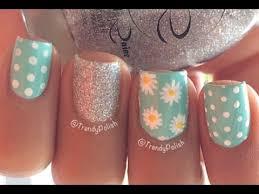 cute daisy nail art short nails youtube