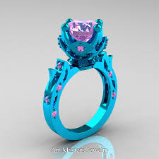 blue wedding rings modern antique 14k turquoise gold 3 0 carat light pink sapphire