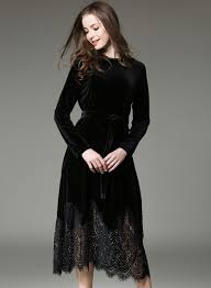 velvet dress sleeve lace velvet dress with belt novashe