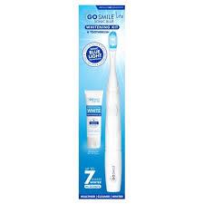 blue light whitening toothbrush go smile sonic blue lite whitening kit includes teeth whitening gel