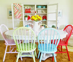 Pastel Dining Chairs Pastel And Bright Colored Wooden Kitchen Chairs With White Oval
