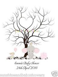 baby shower fingerprint tree finger print tree elephant bunny personalised a3 a4 baby shower