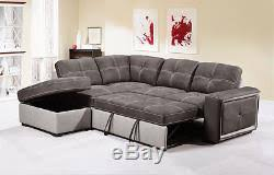 Corner Sofa Pull Out Bed by Quinto Two Tone Grey Fabric Pull Out Corner Sofa Bed With Storage