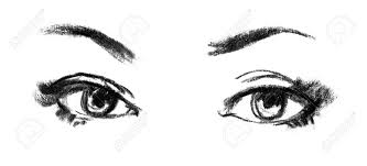 female eye close up portrait of beautiful sketch stock