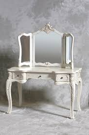 dressing table and triple mirror in cream