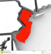 United States Map Clip Art by New Jersey Red Abstract 3d State Map United States America Stock