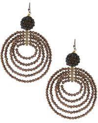 Nakamol Czech Crystal Beaded Chandelier Lyst Nakamol Chain U0026 Crescent Moon Dangle Earrings In Metallic