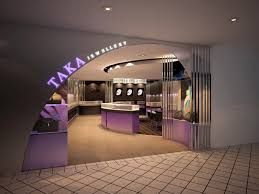 decorating jewellery shop exterior design with purple reception