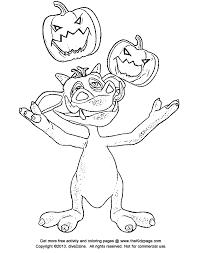 cartoon monster juggling jackolanterns free coloring pages