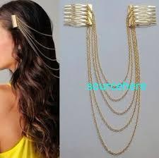 metal headbands womens hair cuff chain band pin gold tone metal headband