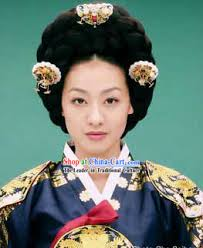 ancient korean palace wig and hair accessories set